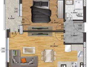 "Апартамент А – 45 в комплекс ""Panorama Park"""