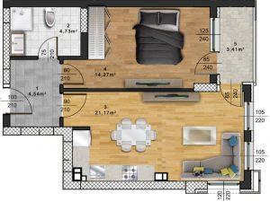 "Апартамент А – 60 в комплекс ""Panorama Park"""