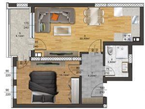 "Апартамент А – 40 в комплекс ""Panorama Park"""